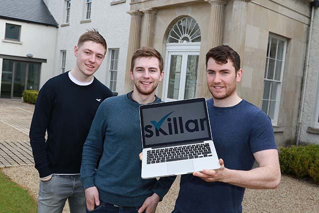 UCD students, Andrew Desmond (Masters, Digital Innovation), Laurence and Stephen Jones (4th year Chemical Engineering) participant's on the 2016 UCD Startup Stars Programme. Picture Nick Bradshaw